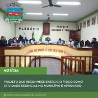 Projeto de Lei que reconhece exercício físico como atividade essencial no município é aprovado