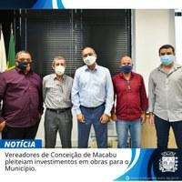 Vereadores de Conceição de Macabu pleiteiam investimento em obras no município.